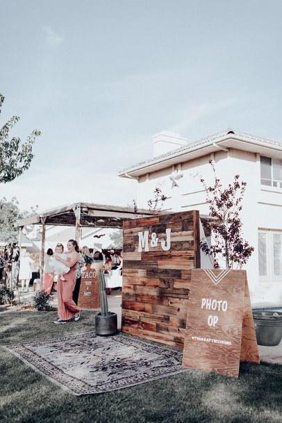 Boho Inspired Homemade Wooden Photo Backdrop Backyard Wedding Ideas