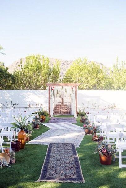 Boho Inspired Rug Aisle Runner Backyard Wedding Ideas
