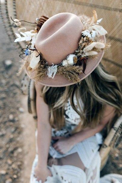 Boho Wedding Flowers Hat Decor