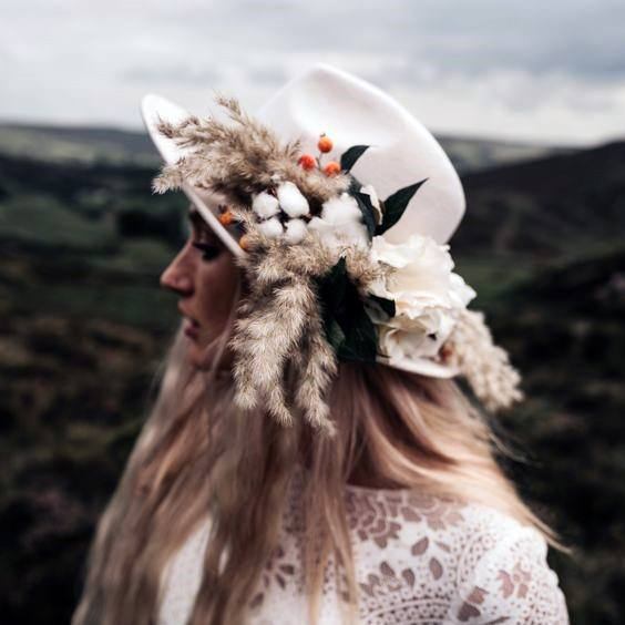 Boho Wedding Flowers Hat
