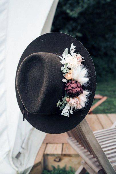 Boho Wedding Flowers On Dark Hat Designs