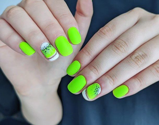 Bold Green Kiwi Nails Women