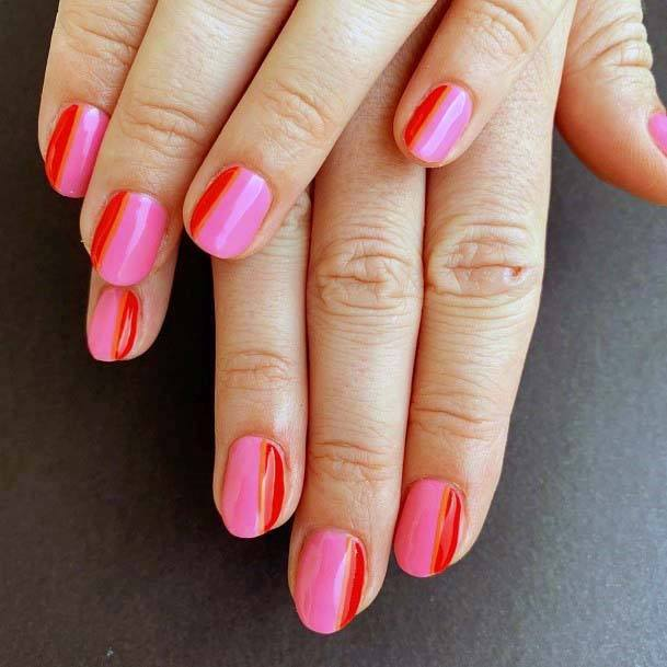 Bold Pink And Red Nails For Women