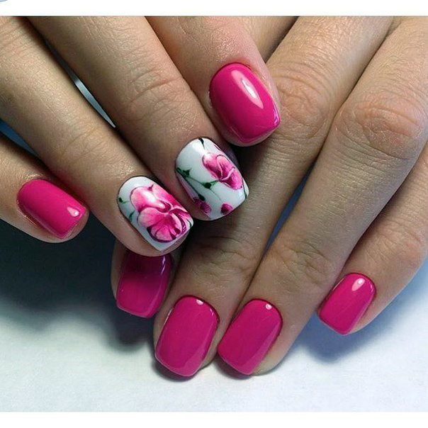 Bold Pink Orchid Nails