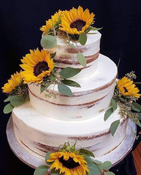 Bold Sunflowers Womens Wedding Cake
