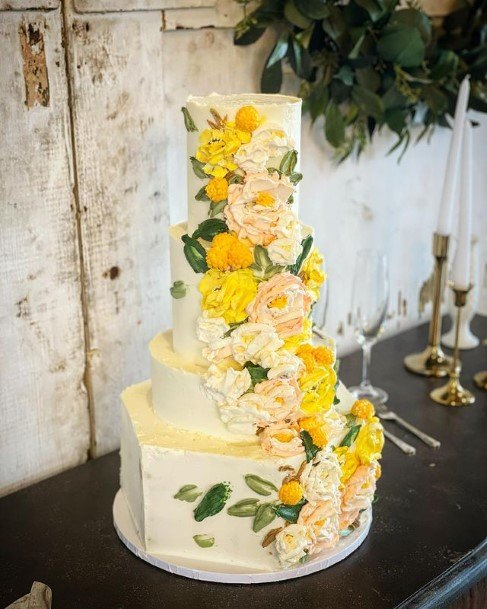 Bold Yellow Flowers Buttercream Wedding Cake