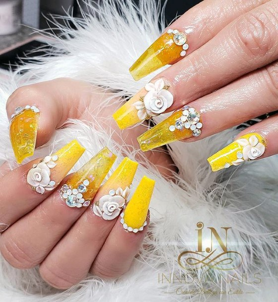Bold Yellow Nails With White 3d Flowers Women