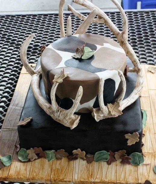 Bones And Horns Camo Wedding Cake