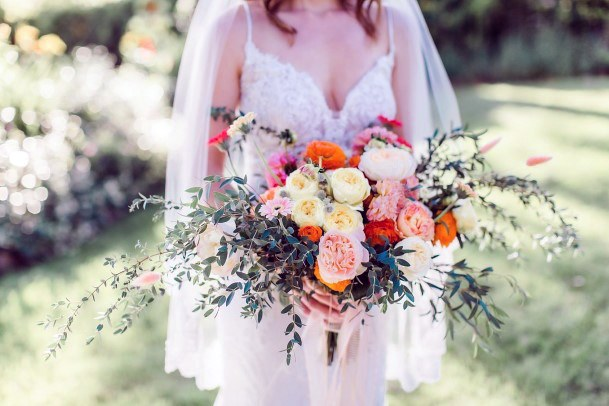 Bouquet Of Yellow And Pink Flowers Wedding