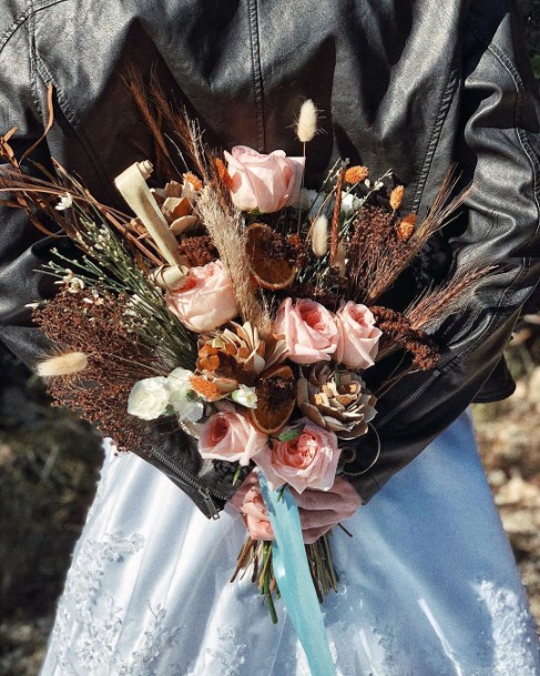 Bouquet With Dried Rustic Twigs And Blush Flowers Fall Wedding Ideas