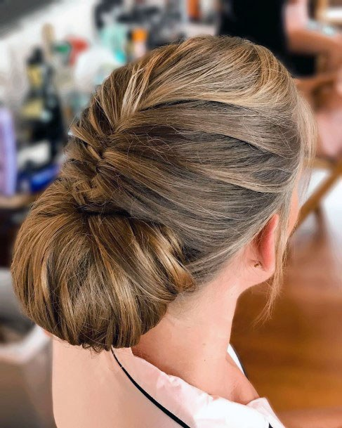 Braided Tucked In Chignon Hairstyle Women