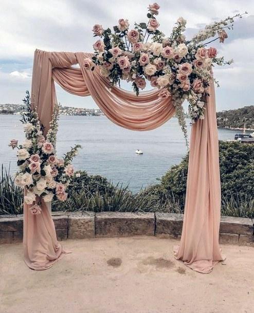 Breathtaking Blush Flowers Arch Wedding