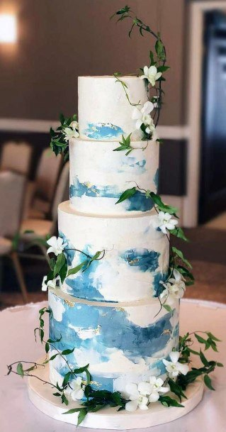 Breezy Blue And White Wedding Cake