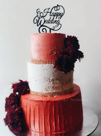 Brick Red White Alternating Colored Wedding Cake 3 Tiered Women