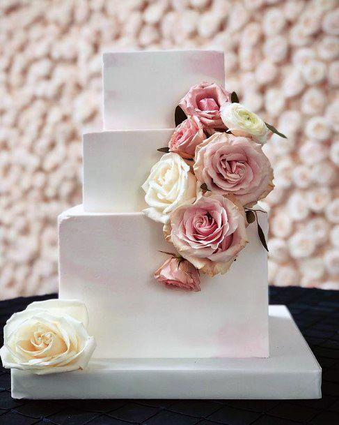 Brick White Square Wedding Cake
