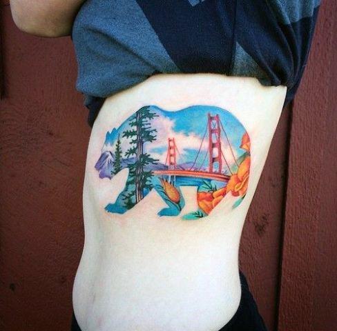 Bridge Tattoo Womens Bear Art Torso Landscape