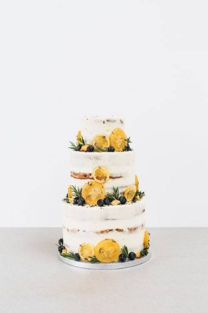 Bright And Yellow White Country Wedding Cakes