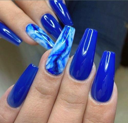 Bright Azure Blue Water Nails Accent For Women Art