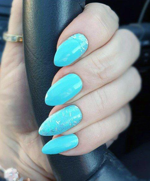 Bright Blue Cerulian Nails For Women