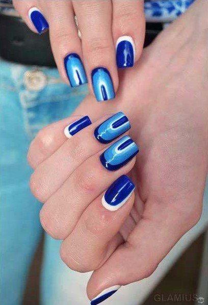 Bright Blue Nails Designs Fashion For Women