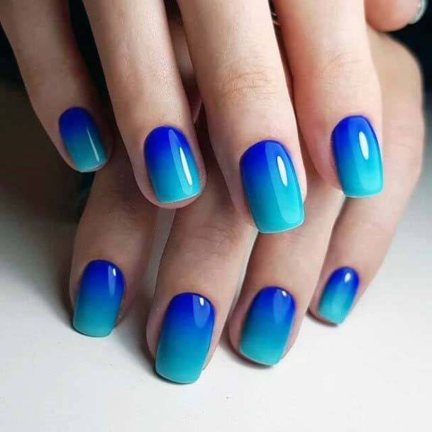 Bright Blue Ombre Nails For Women