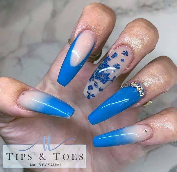 Bright Blue Shaded Transparent Nails For Women