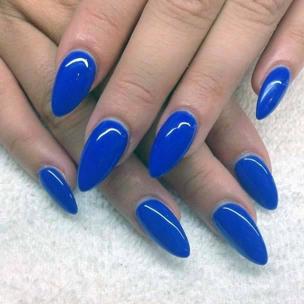 Bright Cobalt Blue Nails For Women