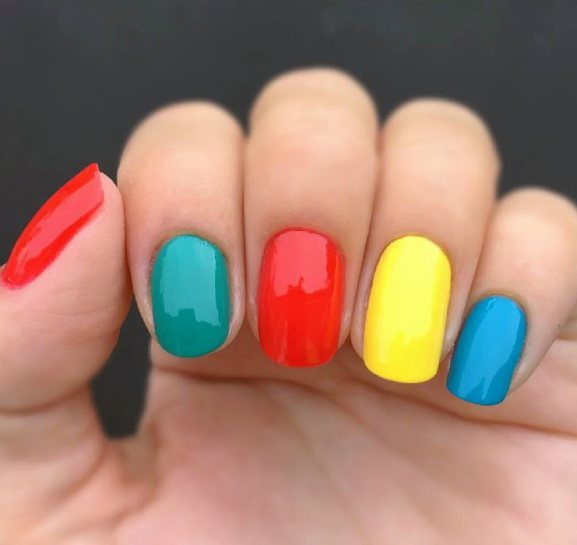 Bright Colored Block Nails