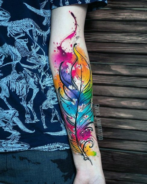 Bright Colored Feather Tattoo Womens Hands