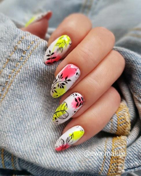 Bright Colorful Nail Design White Ideas For Women