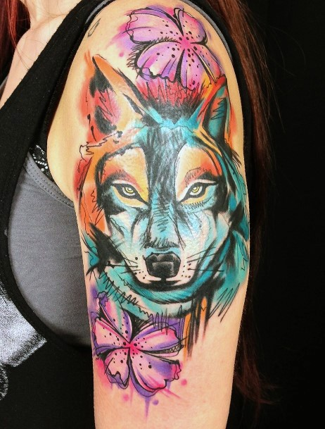 Bright Dog Tattoo For Women