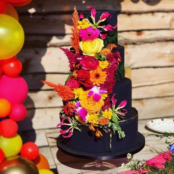 Bright Flowered Chocolate Wedding Cake