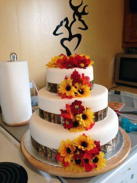 Bright Flowers On Camo Wedding Cakes