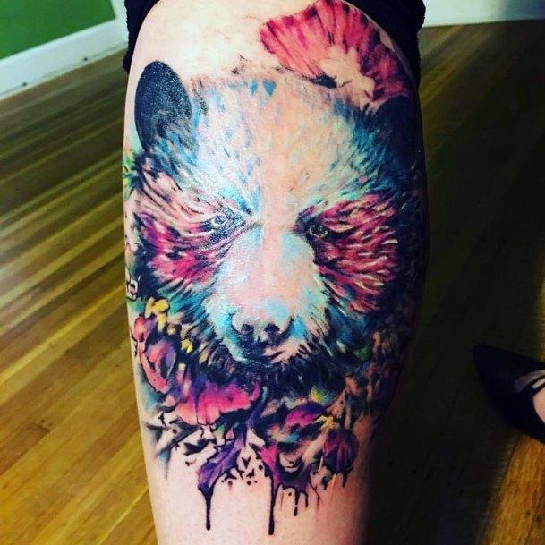 Bright Fuzzy Bear Tattoo For Women