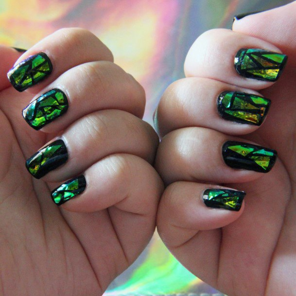 Bright Green On Black Glass Nails Women