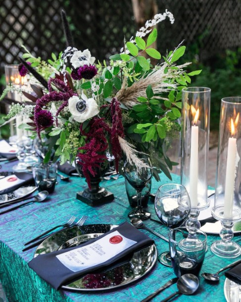 Bright Greenery And Dark Burgundy Centerpieces Fall Wedding Ideas