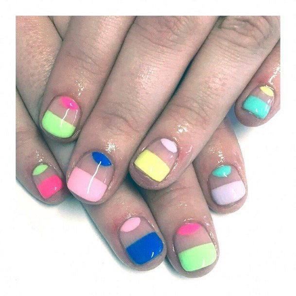 Bright Jazzy Short Nails Women