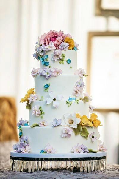Bright May Flower On Wedding Cake