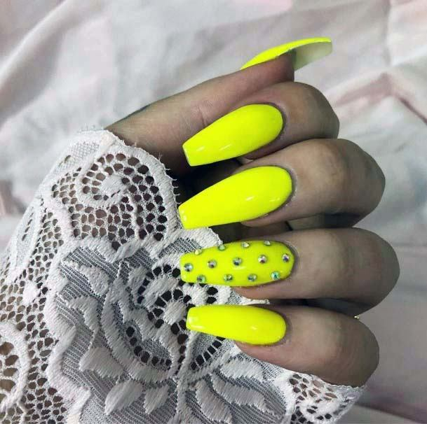 Bright Neon Yellow Nails With Crystals For Women