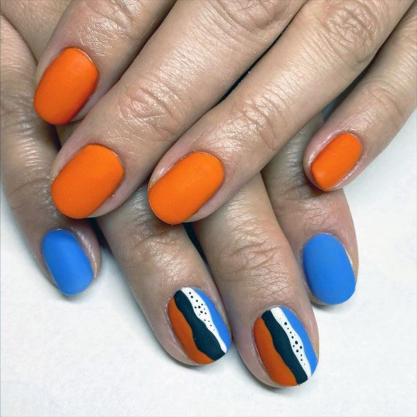 Bright Orange Blue Striped Nail Design For Women