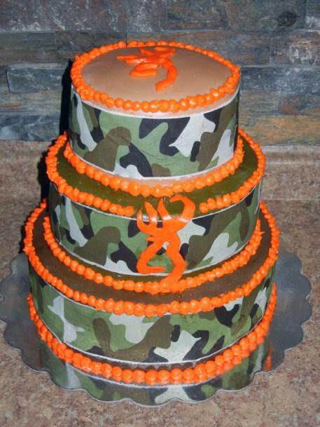 Bright Orange Border Camo Wedding Cake