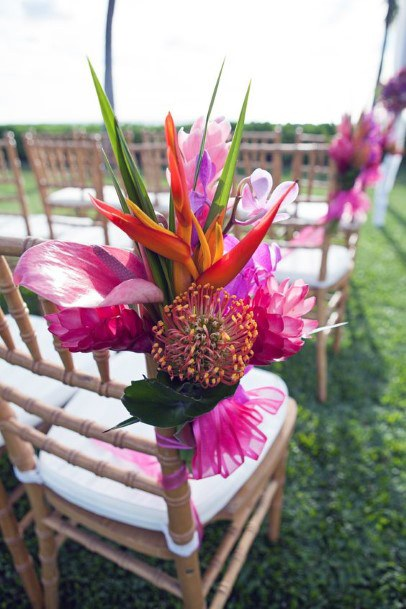 Bright Pink Hawaiian Wedding Flowers
