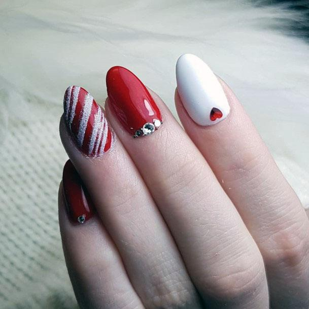 Bright Red And White Sugar Nails Women