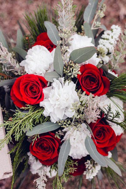 Bright Red And White Wedding Flowers