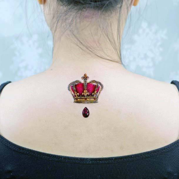 Bright Red Crown Tattoo Womens Back
