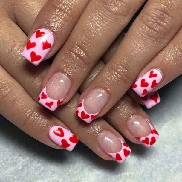 Bright Red Hearts And Light Pink Nails For Women