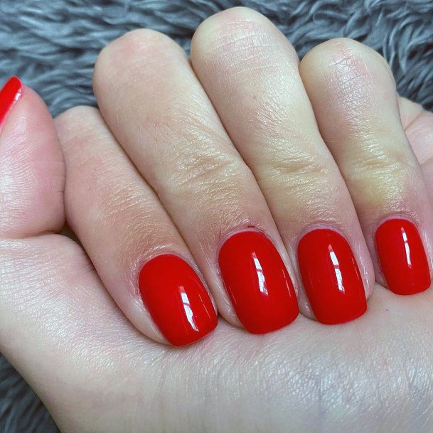 Bright Red Nails Short For Women