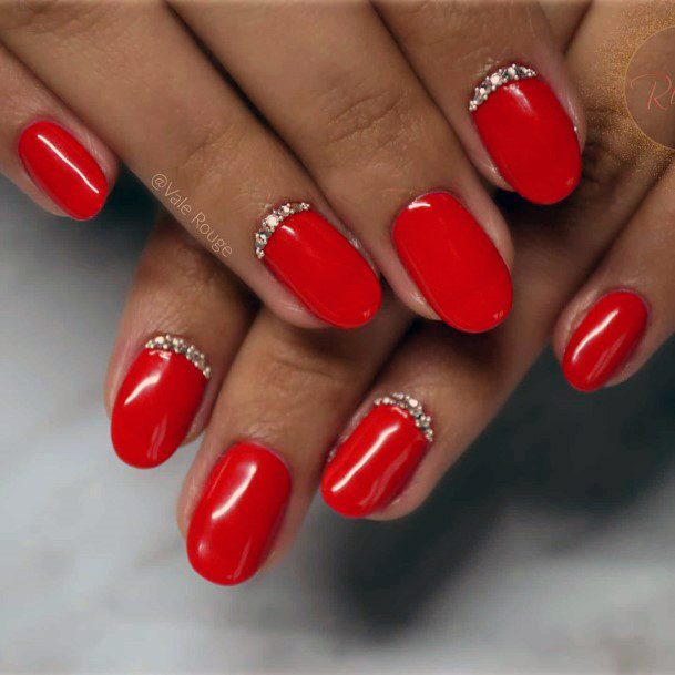 Bright Red Nails With Crystals For Women