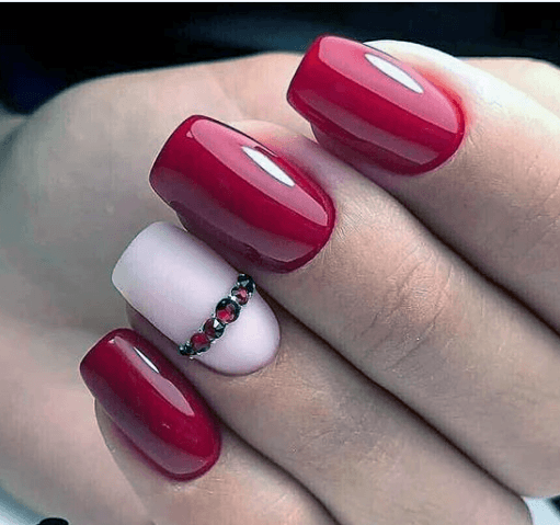 Bright Red Nails With Matte Accent White For Women