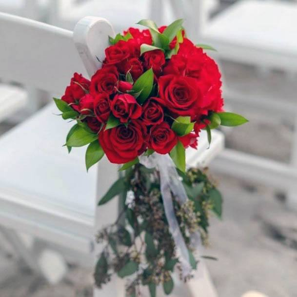 Bright Red Roses Wedding Flowers